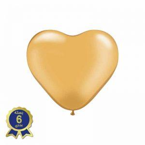 بادکنک لاتکس قلبی طلایی کمرنگ
