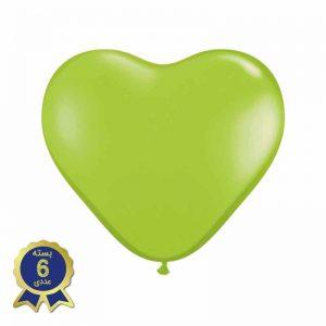 بادکنک لاتکس قلبی سبز کمرنگ