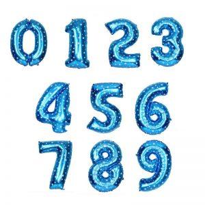 بادکنک فویلی عدد آبی ستاره دار