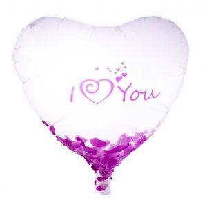 بادکنک فویلی شیشه ای قلبی I Love you