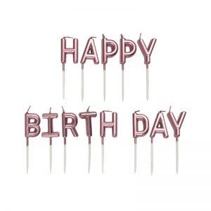 شمع تولد Happy Birthday رزگلد