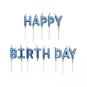 شمع تولد Happy Birthday آبی روشن