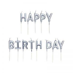 شمع تولد Happy Birthday نقره ای